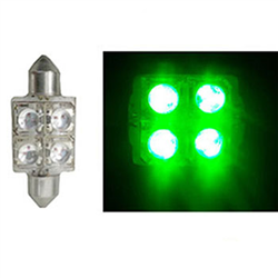 Led Torpedo 36mm 12v - 4 Led 10w - Verde (ap172) - Autopoli