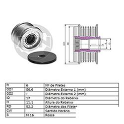 Polia Alternador Roda Livre Sentra 2.5 (zen5500) - Zen - Peç