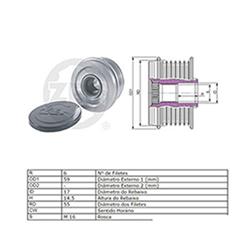 Polia Alternador Roda Livre Tucson Sorento (zen5593) - Zen -