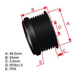 Polia Alternador Roda Livre Bmw Série 1 3 5 X5 (zm9600075) -