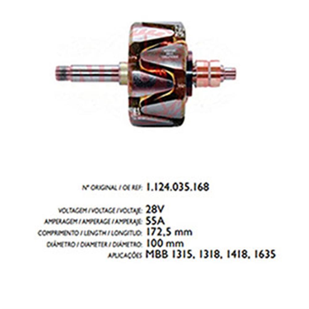 Rotor Alternador Mbb 1315 1635 - 55a 24v (r3578) - Cae1 - Pe