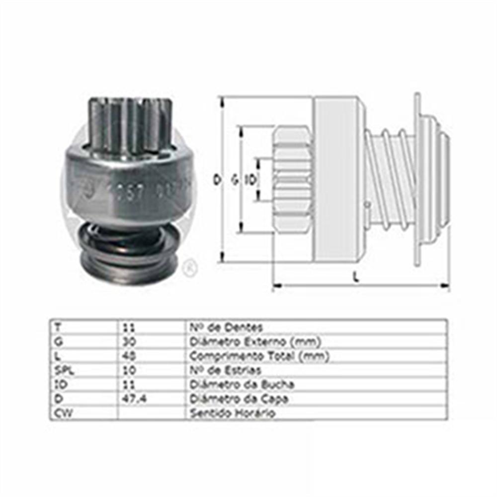 Bendix Motor de Partida Duster Scenic - 11 Dentes (zen1757)