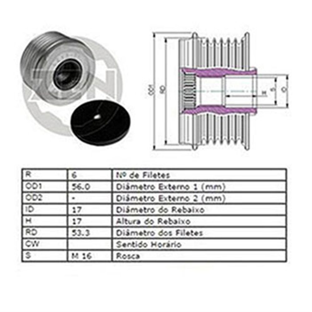 Polia Alternador Roda Livre Mondeo (zen5429) - Zen - Peça -
