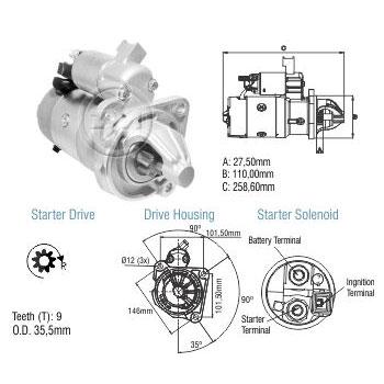 Motor Partida Ford Gm Mwm - Zm - Peça - Sku: Zm8048015 F100 / SILVERADO / D20 / GRAND BLAZER / MWM