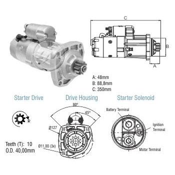 Motor de Partida JOHN DEERE M100R 12V ZM 80.481.05 - ZM - PE