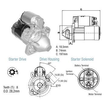 Motor de Partida EMPILHADEIRA MAZADA M0T8 12V ZM 80.790.01 -