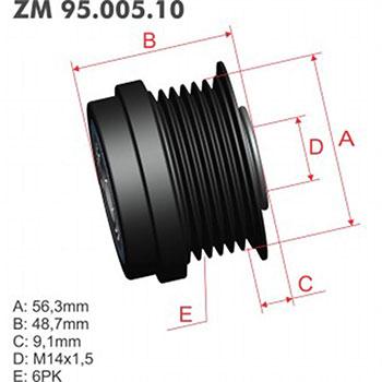 Polia Alternador Decoupler Gm - Zm - Peça - Sku: Zm9500510 CAMARO / CTS / LUCERNE / OUTLOOK / ACADIA / TRAVERSE / ENCLAVE